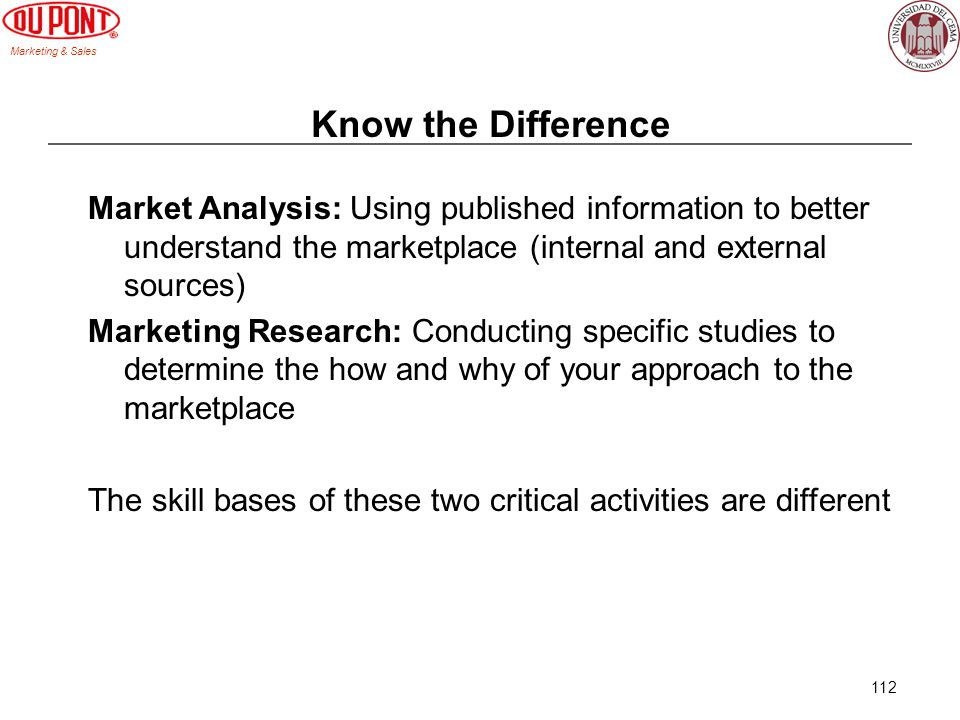 Know the Difference Market Analysis: Using published information to better understand the marketplace (internal and external sources)