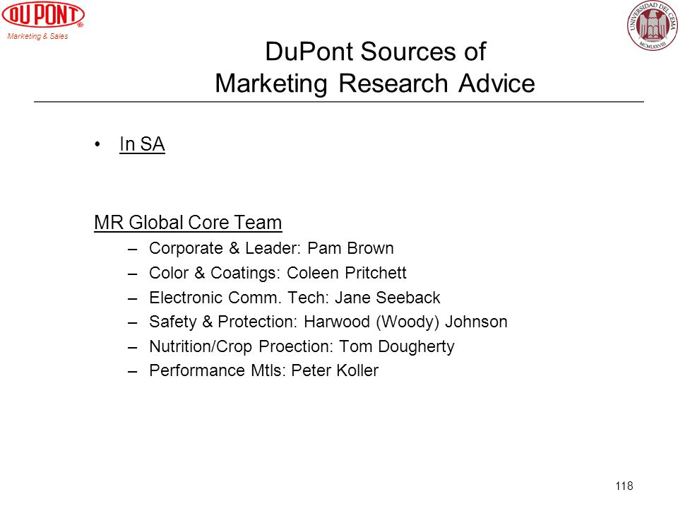 DuPont Sources of Marketing Research Advice