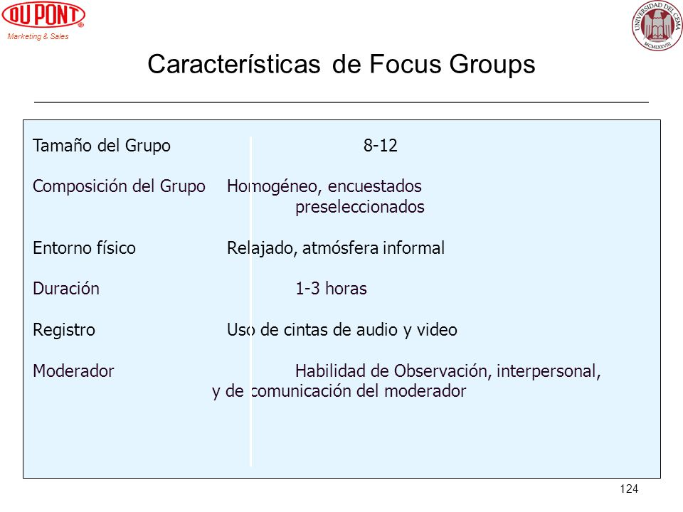 Características de Focus Groups