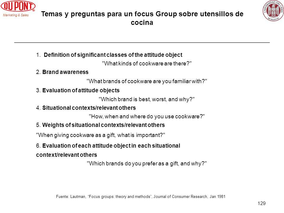 Temas y preguntas para un focus Group sobre utensillos de cocina