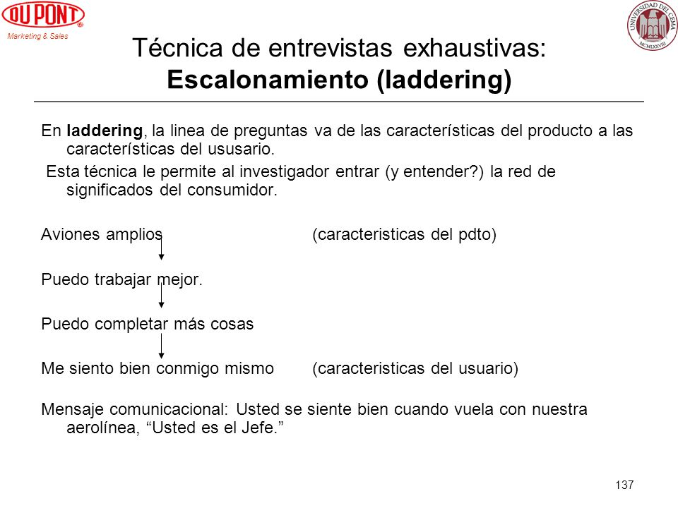 Técnica de entrevistas exhaustivas: Escalonamiento (laddering)