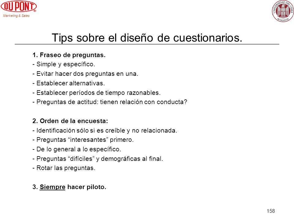 Tips sobre el diseño de cuestionarios.