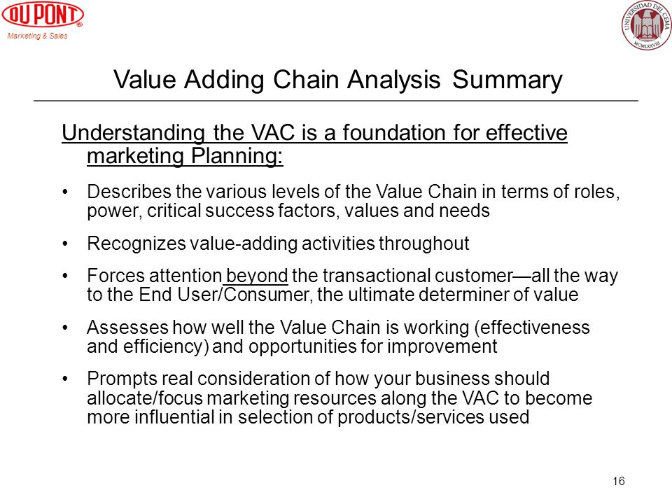 Value Adding Chain Analysis Summary