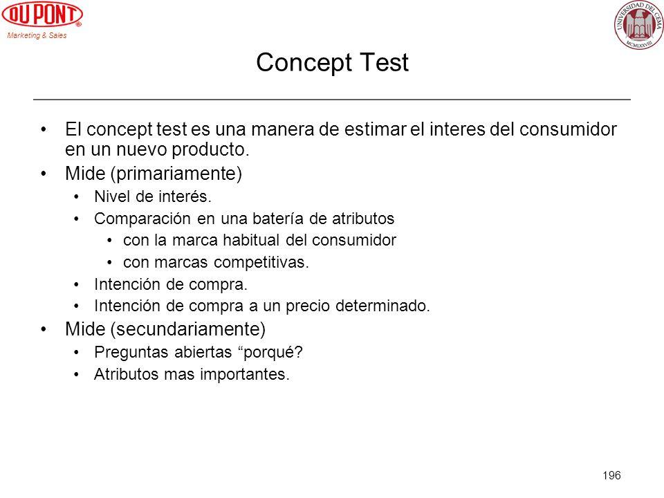 Concept Test El concept test es una manera de estimar el interes del consumidor en un nuevo producto.