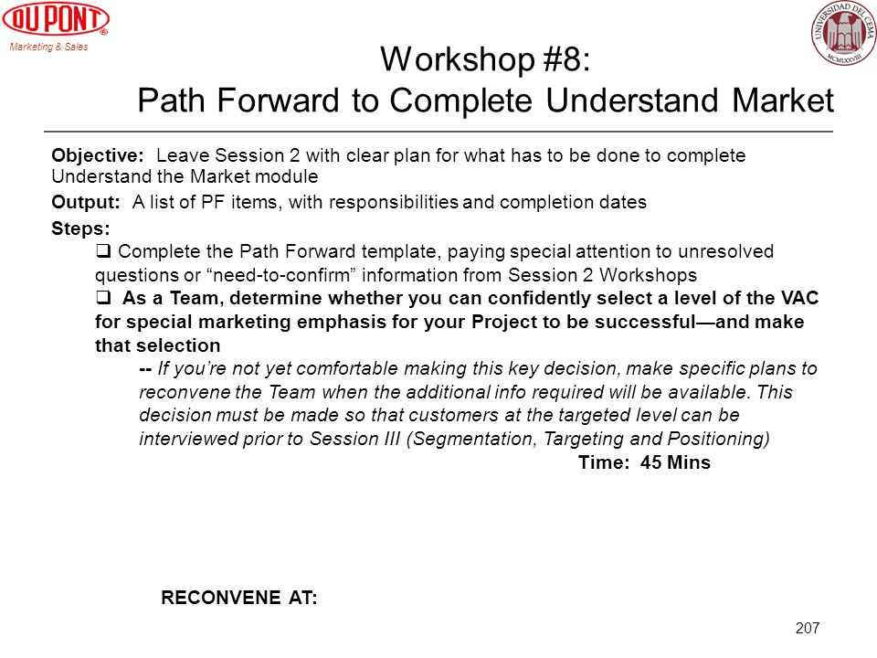 Workshop #8: Path Forward to Complete Understand Market