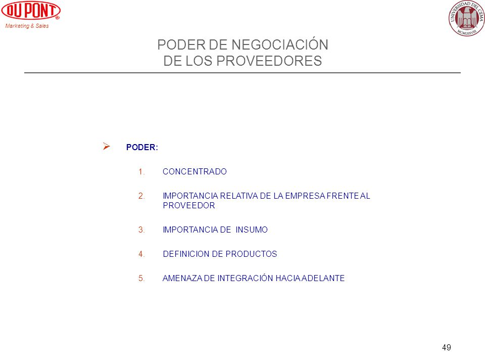 PODER DE NEGOCIACIÓN DE LOS PROVEEDORES PODER: CONCENTRADO