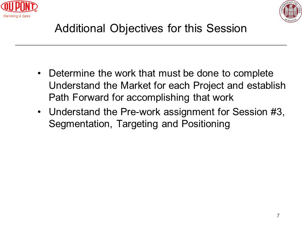 Additional Objectives for this Session
