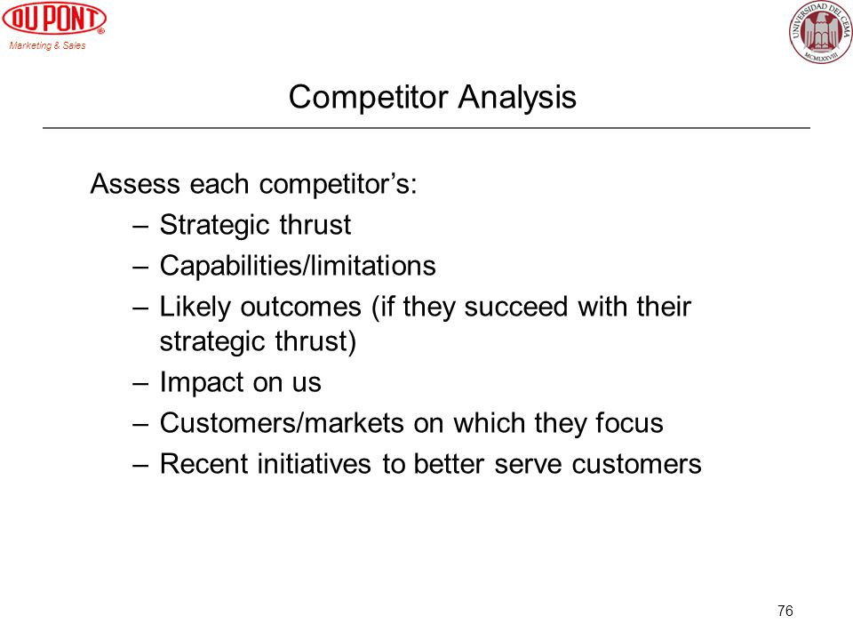 Competitor Analysis Assess each competitor's: Strategic thrust