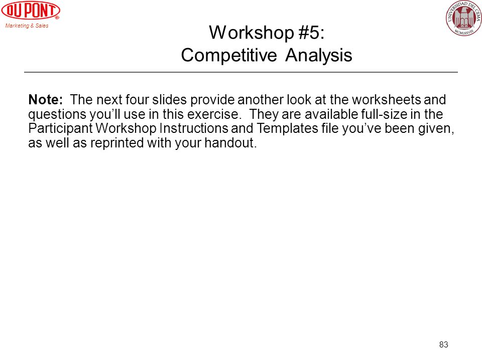 Workshop #5: Competitive Analysis