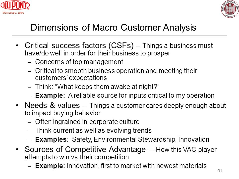 Dimensions of Macro Customer Analysis