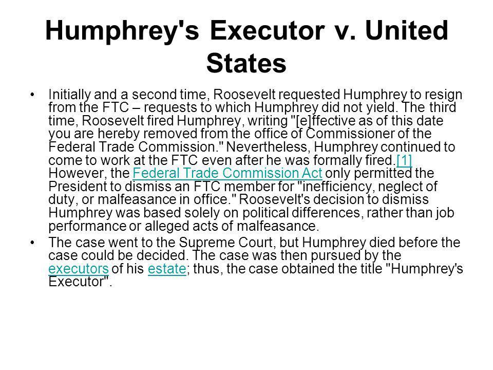 Humphrey s Executor v. United States