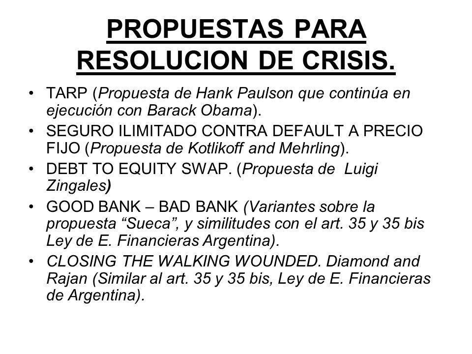 PROPUESTAS PARA RESOLUCION DE CRISIS.
