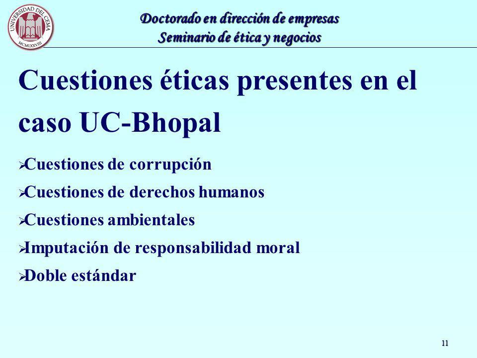 Cuestiones éticas presentes en el caso UC-Bhopal