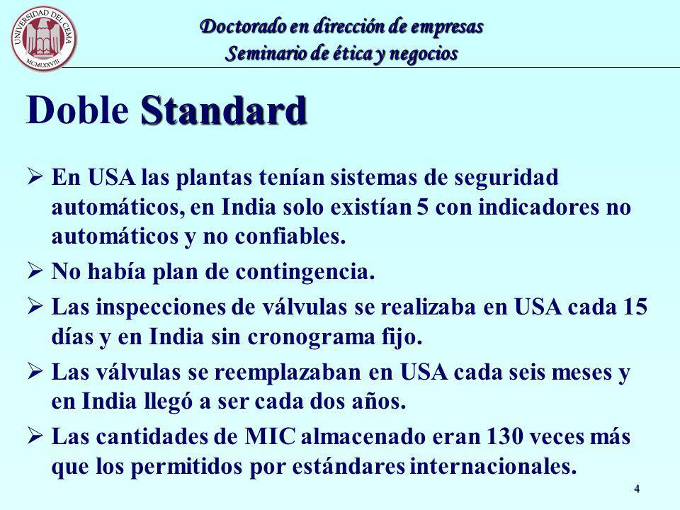 Doble Standard En USA las plantas tenían sistemas de seguridad automáticos, en India solo existían 5 con indicadores no automáticos y no confiables.