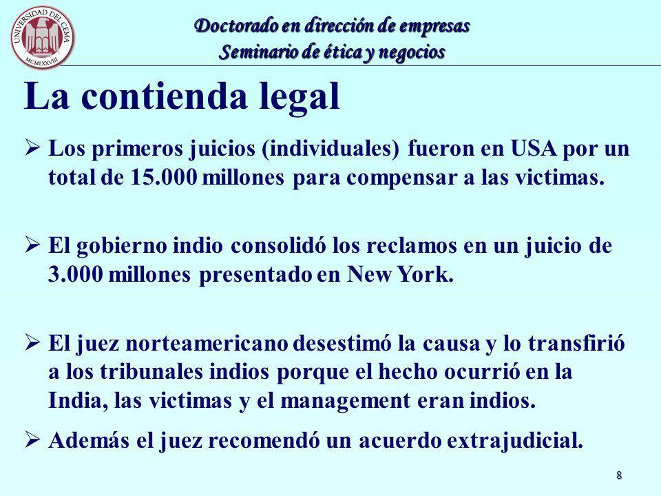 La contienda legal Los primeros juicios (individuales) fueron en USA por un total de 15.000 millones para compensar a las victimas.
