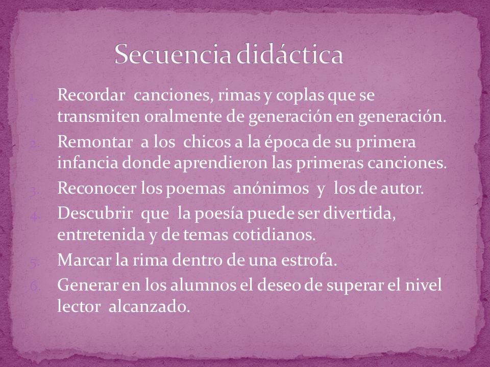 Secuencia didáctica Recordar canciones, rimas y coplas que se transmiten oralmente de generación en generación.