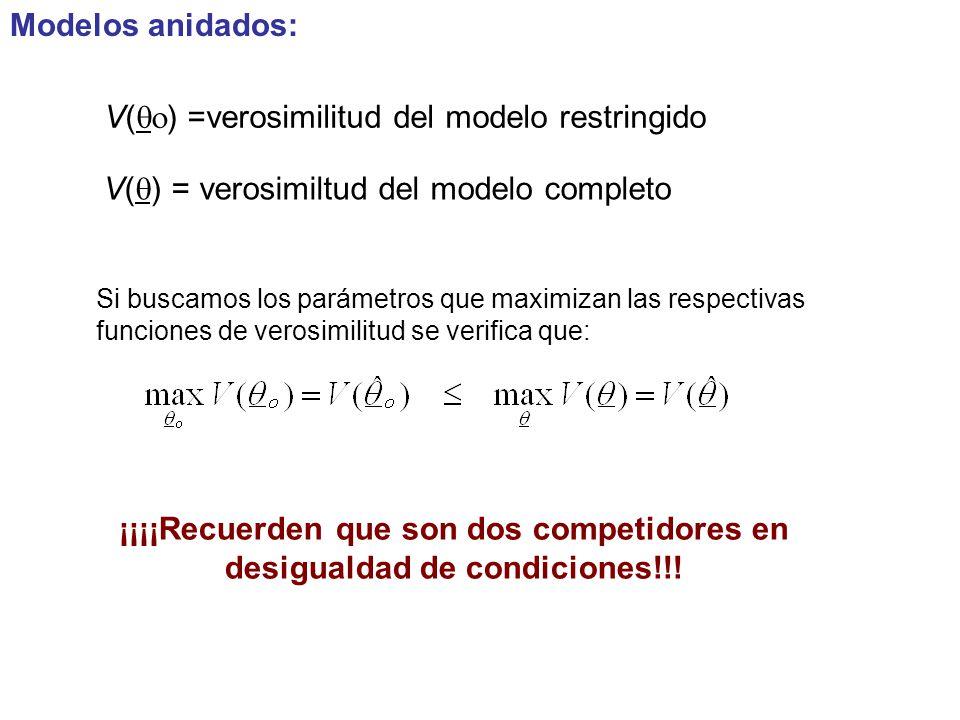 V(qo) =verosimilitud del modelo restringido