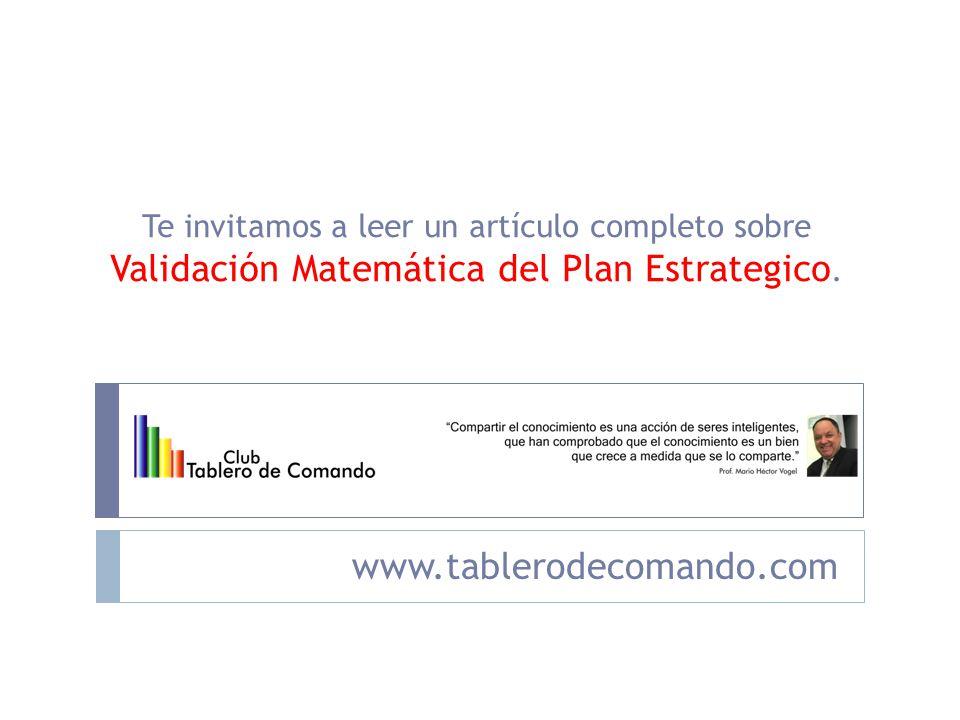 Validación Matemática del Plan Estrategico.