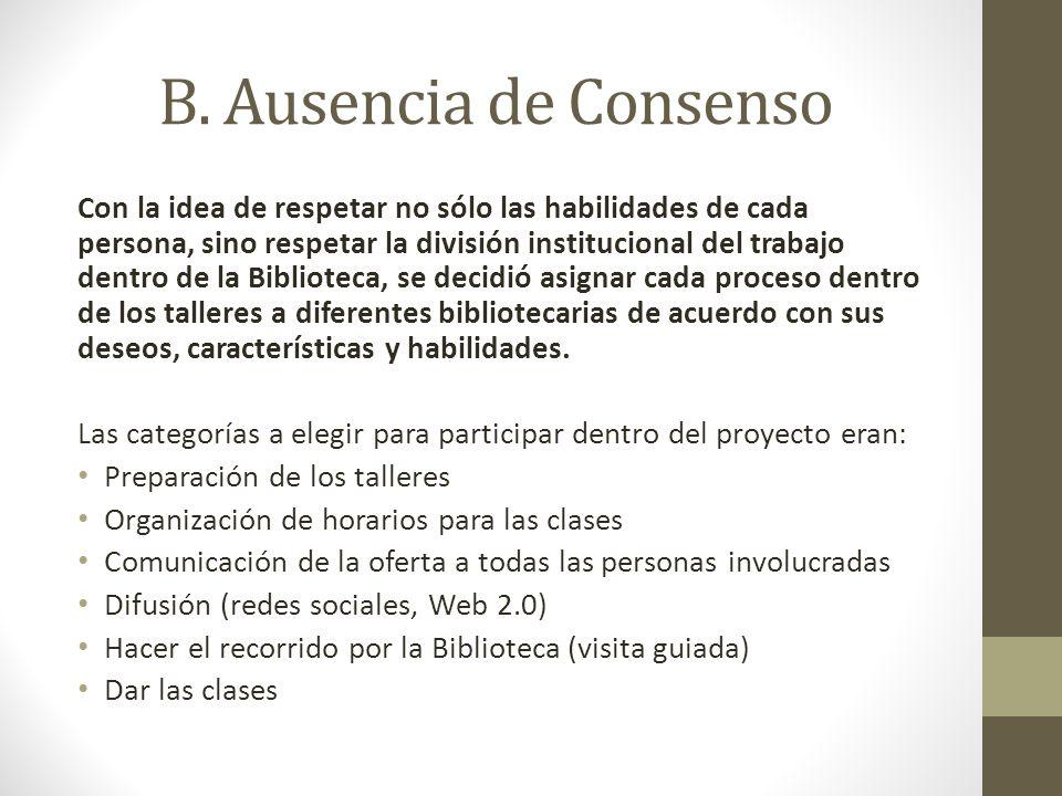 B. Ausencia de Consenso