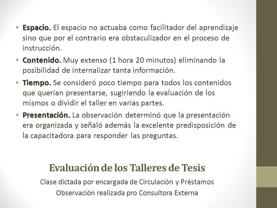 Evaluación de los Talleres de Tesis