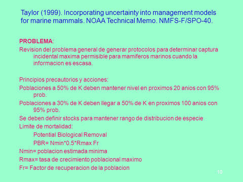 Taylor (1999). Incorporating uncertainty into management models for marine mammals. NOAA Technical Memo. NMFS-F/SPO-40.