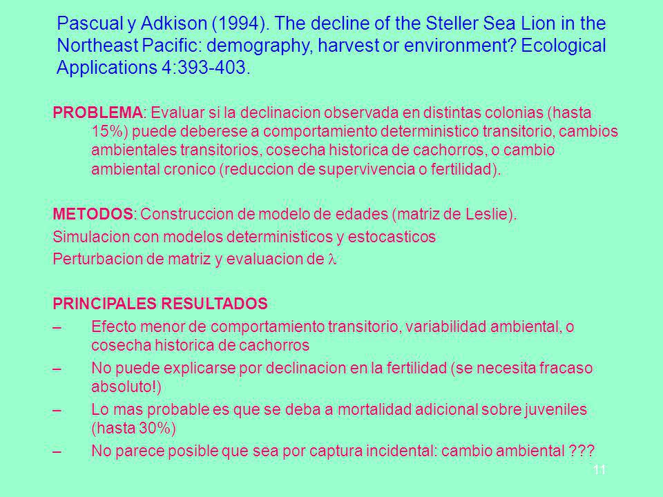 Pascual y Adkison (1994). The decline of the Steller Sea Lion in the Northeast Pacific: demography, harvest or environment Ecological Applications 4:393-403.