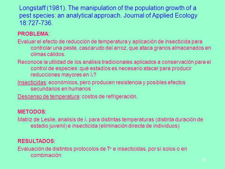Longstaff (1981). The manipulation of the population growth of a pest species: an analytical approach. Journal of Applied Ecology 18:727-736.