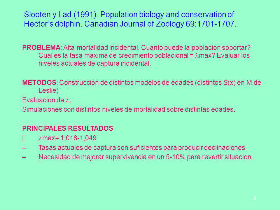 Slooten y Lad (1991). Population biology and conservation of Hector's dolphin. Canadian Journal of Zoology 69:1701-1707.