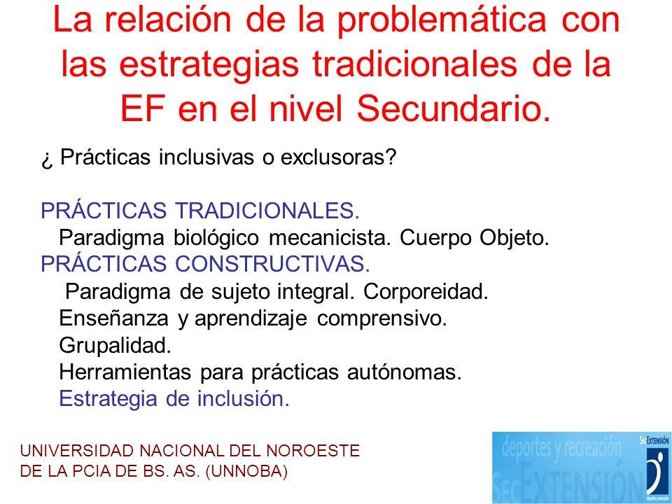 La relación de la problemática con las estrategias tradicionales de la EF en el nivel Secundario.