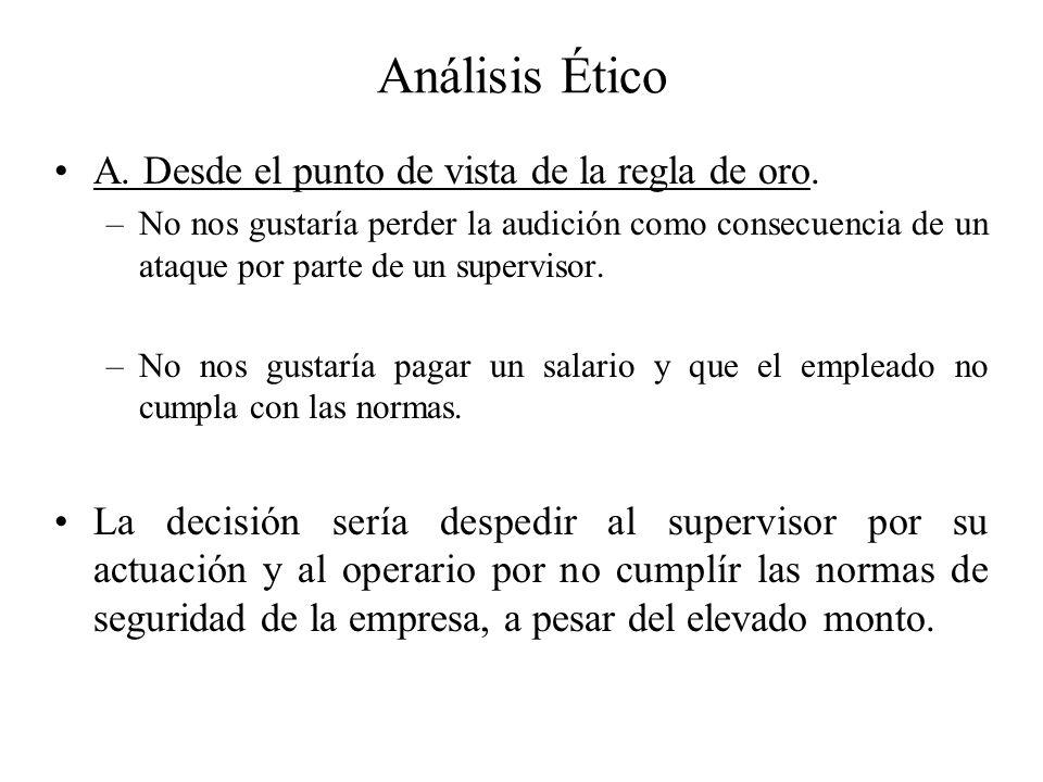Análisis Ético A. Desde el punto de vista de la regla de oro.