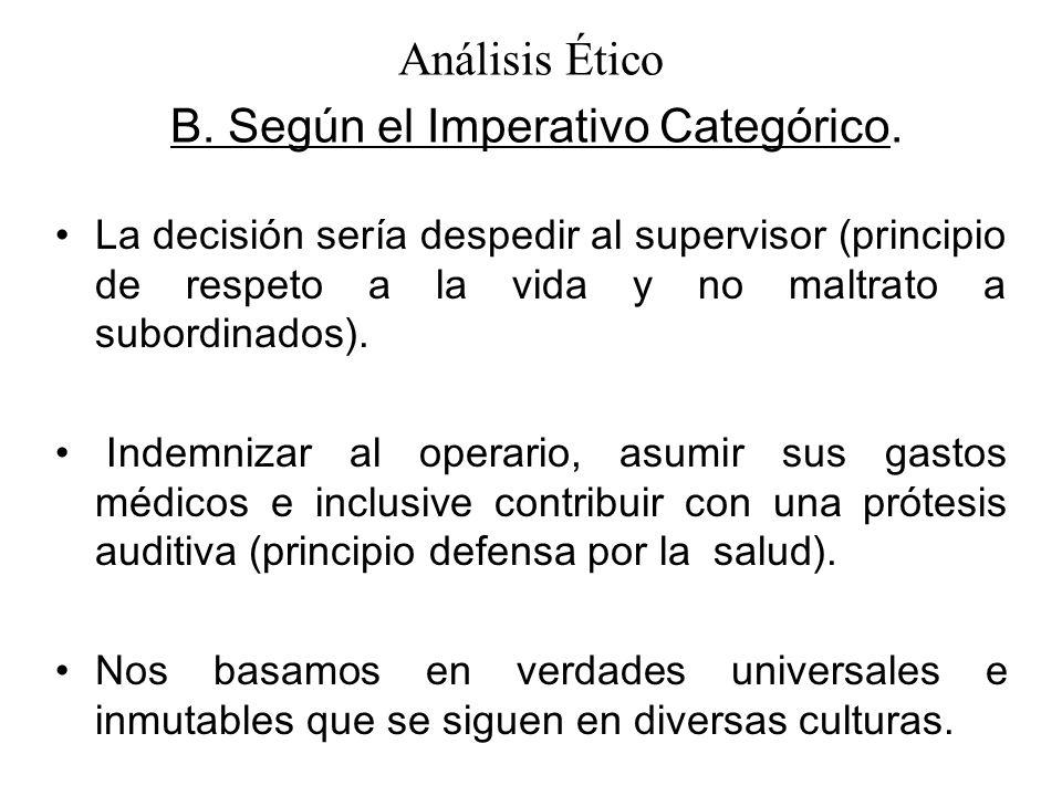 Análisis Ético B. Según el Imperativo Categórico.