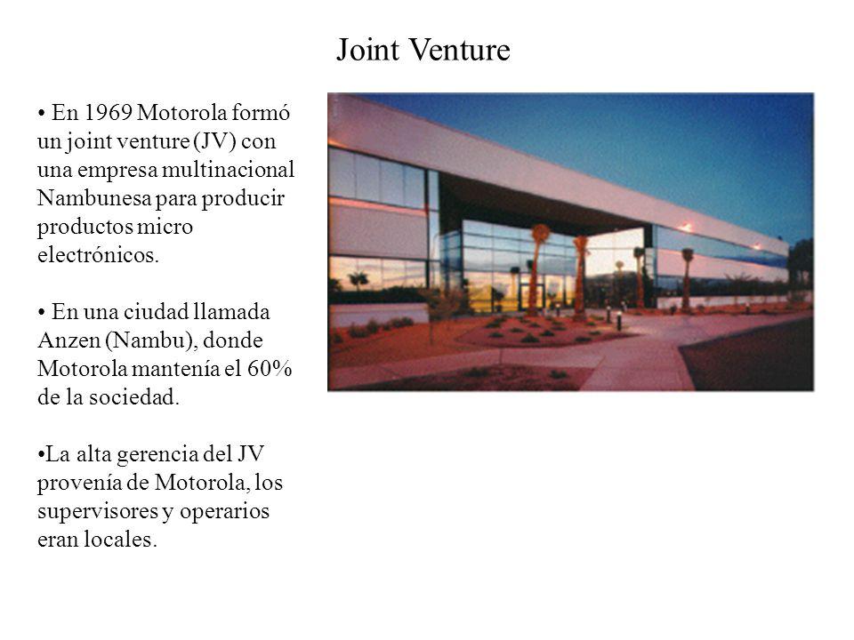 Joint Venture En 1969 Motorola formó un joint venture (JV) con una empresa multinacional Nambunesa para producir productos micro electrónicos.