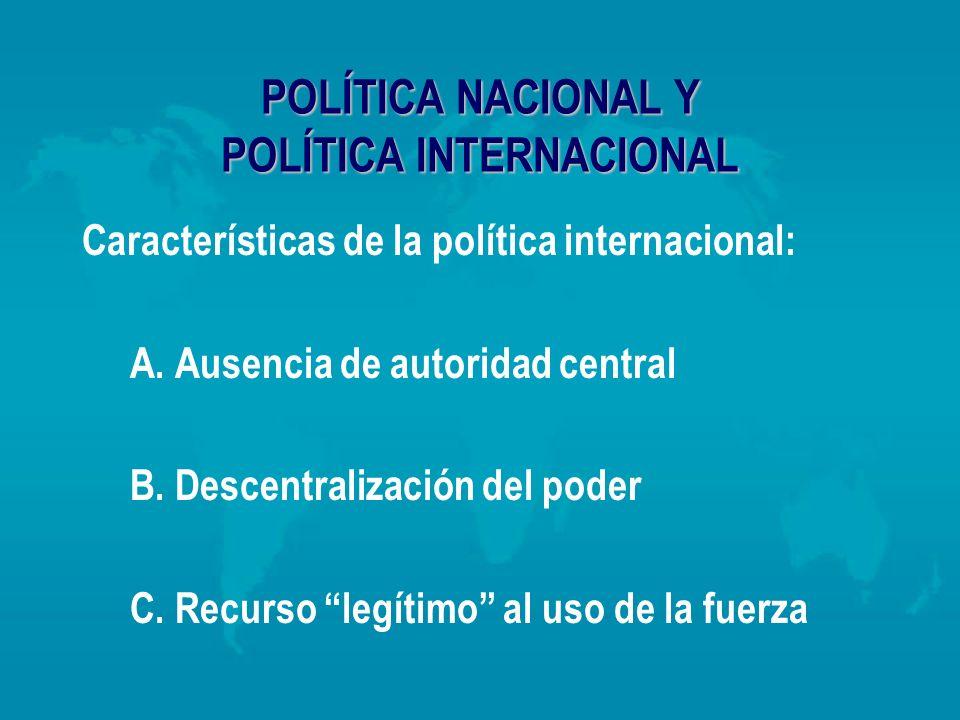 POLÍTICA NACIONAL Y POLÍTICA INTERNACIONAL