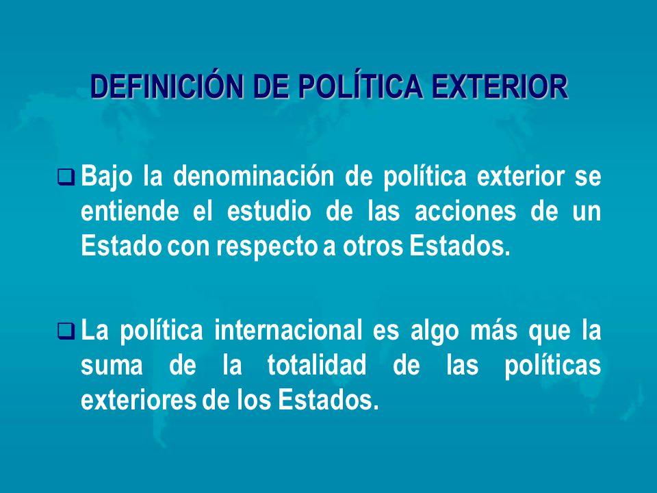 DEFINICIÓN DE POLÍTICA EXTERIOR