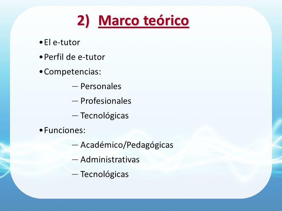Marco teórico El e-tutor Perfil de e-tutor Competencias: Personales