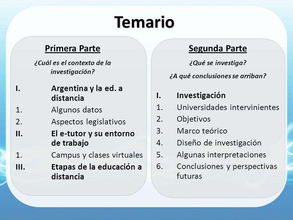 Temario Primera Parte Segunda Parte Argentina y la ed. a distancia
