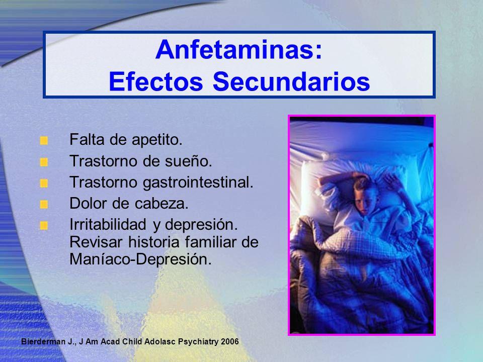 Anfetaminas: Efectos Secundarios