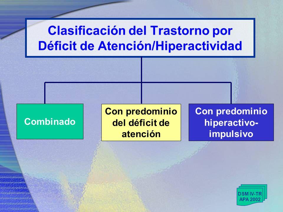 Clasificación del Trastorno por Déficit de Atención/Hiperactividad
