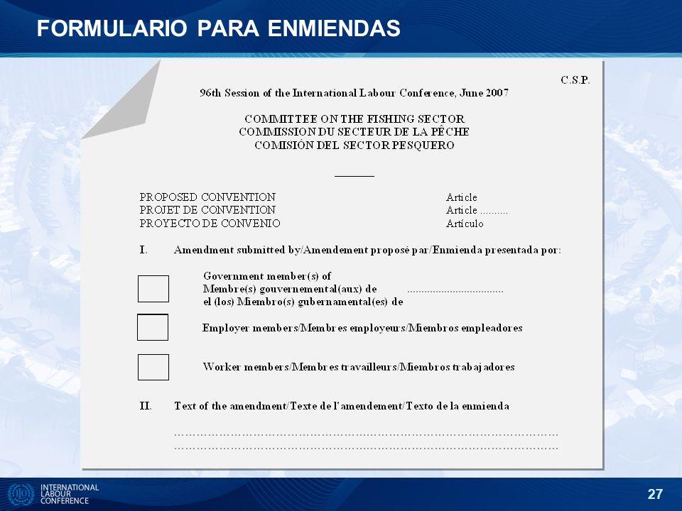 FORMULARIO PARA ENMIENDAS