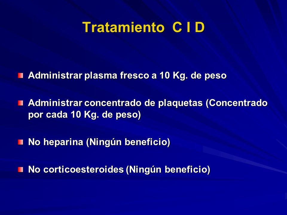 Tratamiento C I D Administrar plasma fresco a 10 Kg. de peso