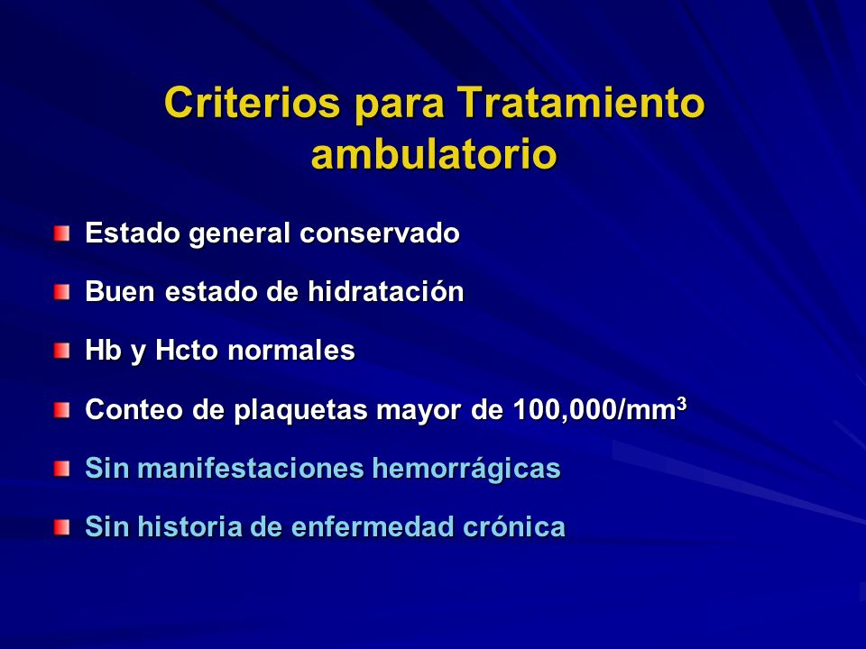 Criterios para Tratamiento ambulatorio