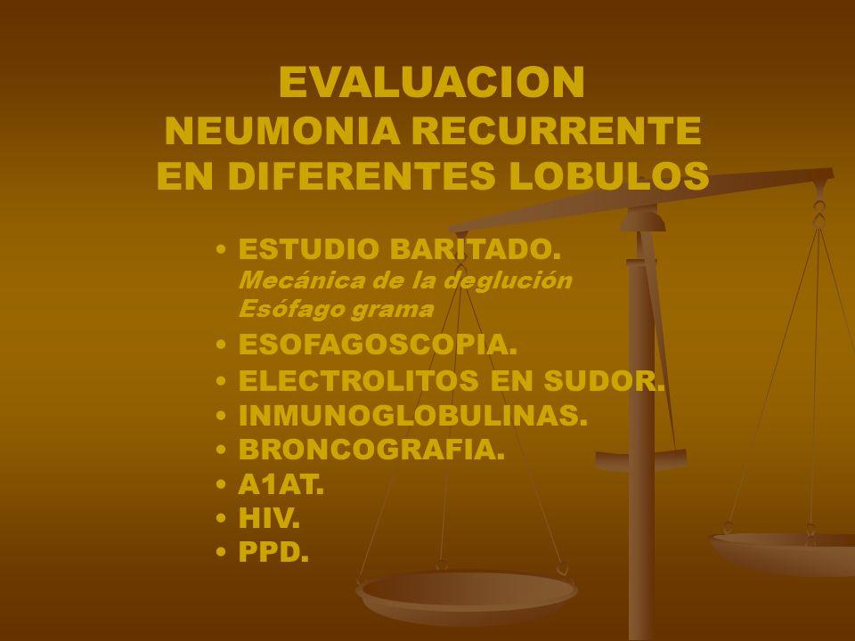 EVALUACION NEUMONIA RECURRENTE EN DIFERENTES LOBULOS ESTUDIO BARITADO.