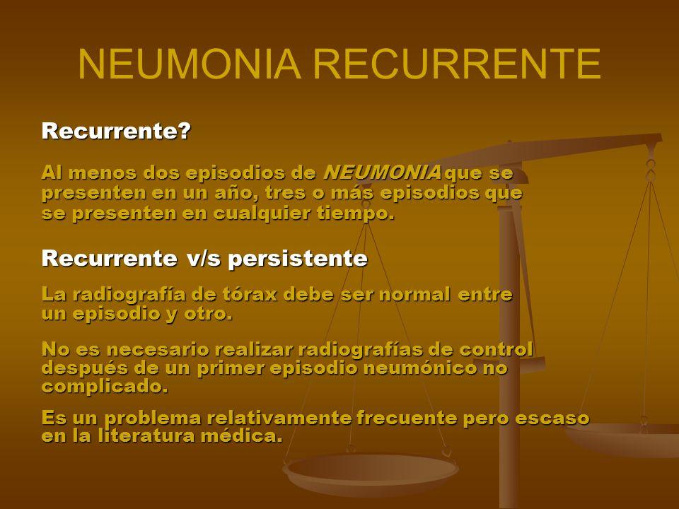 NEUMONIA RECURRENTE Recurrente Recurrente v/s persistente