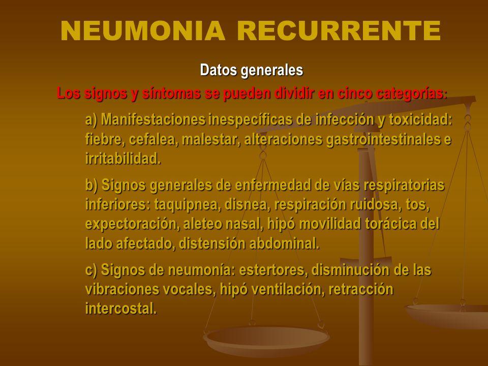 Los signos y síntomas se pueden dividir en cinco categorías: