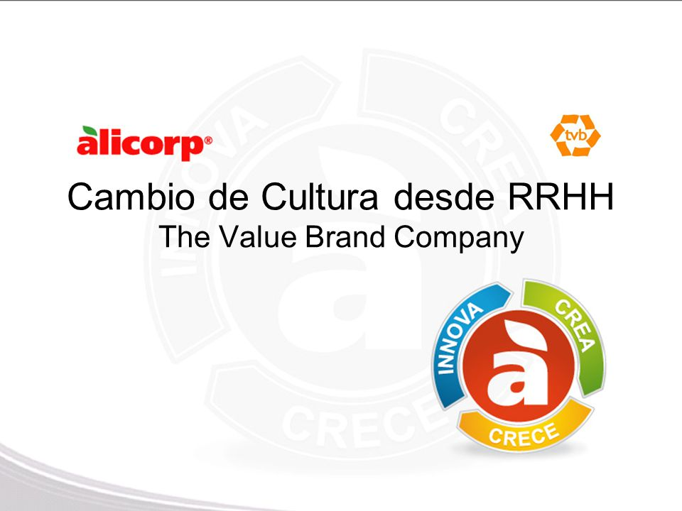 Cambio de Cultura desde RRHH The Value Brand Company