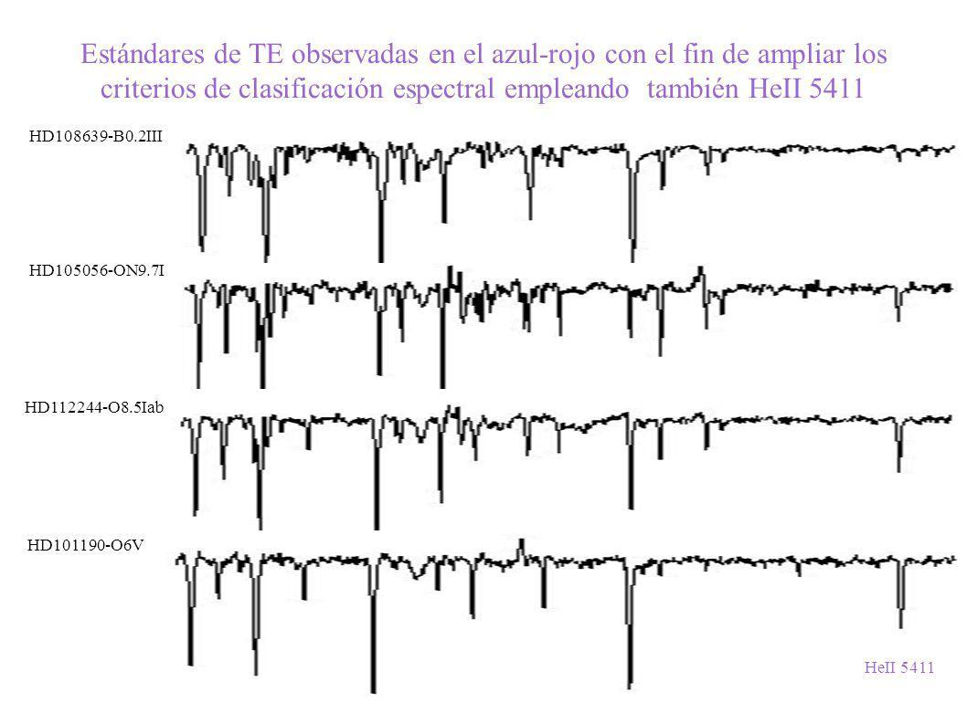 Estándares de TE observadas en el azul-rojo con el fin de ampliar los criterios de clasificación espectral empleando también HeII 5411
