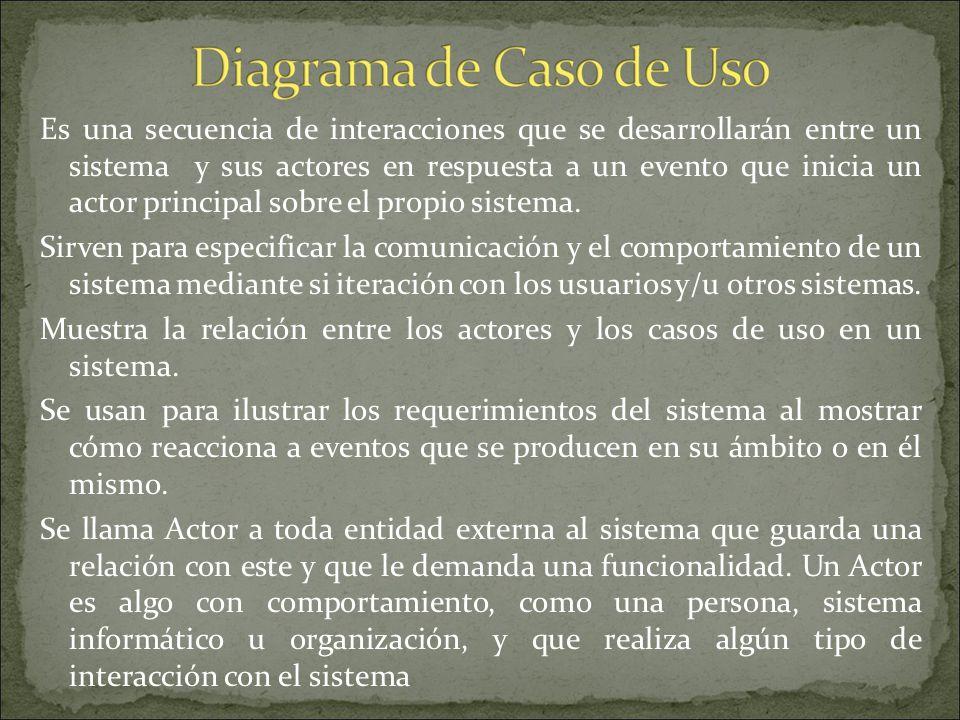 Es una secuencia de interacciones que se desarrollarán entre un sistema y sus actores en respuesta a un evento que inicia un actor principal sobre el propio sistema.