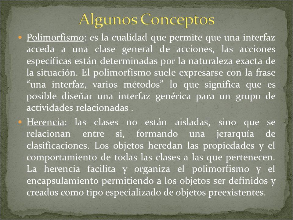 Polimorfismo: es la cualidad que permite que una interfaz acceda a una clase general de acciones, las acciones específicas están determinadas por la naturaleza exacta de la situación. El polimorfismo suele expresarse con la frase una interfaz, varios métodos lo que significa que es posible diseñar una interfaz genérica para un grupo de actividades relacionadas .