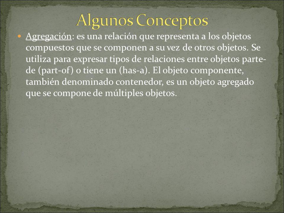 Agregación: es una relación que representa a los objetos compuestos que se componen a su vez de otros objetos.