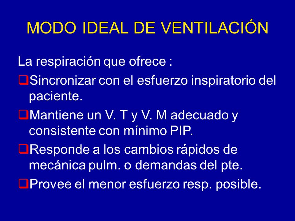 MODO IDEAL DE VENTILACIÓN